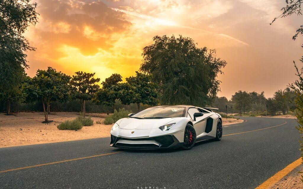 White Aventador SV