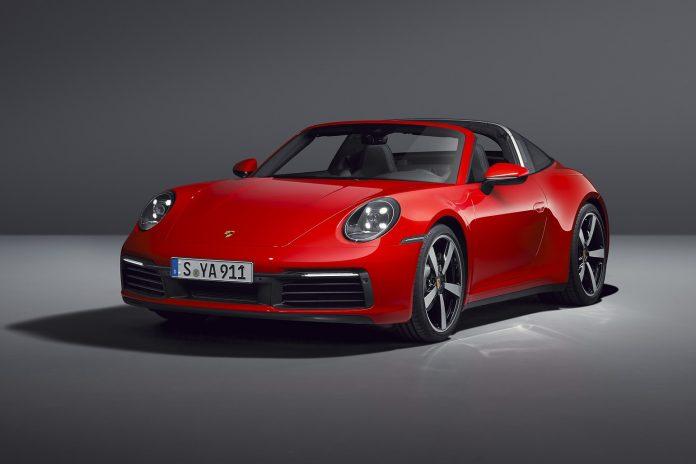 Red Porsche 992 Targa 4