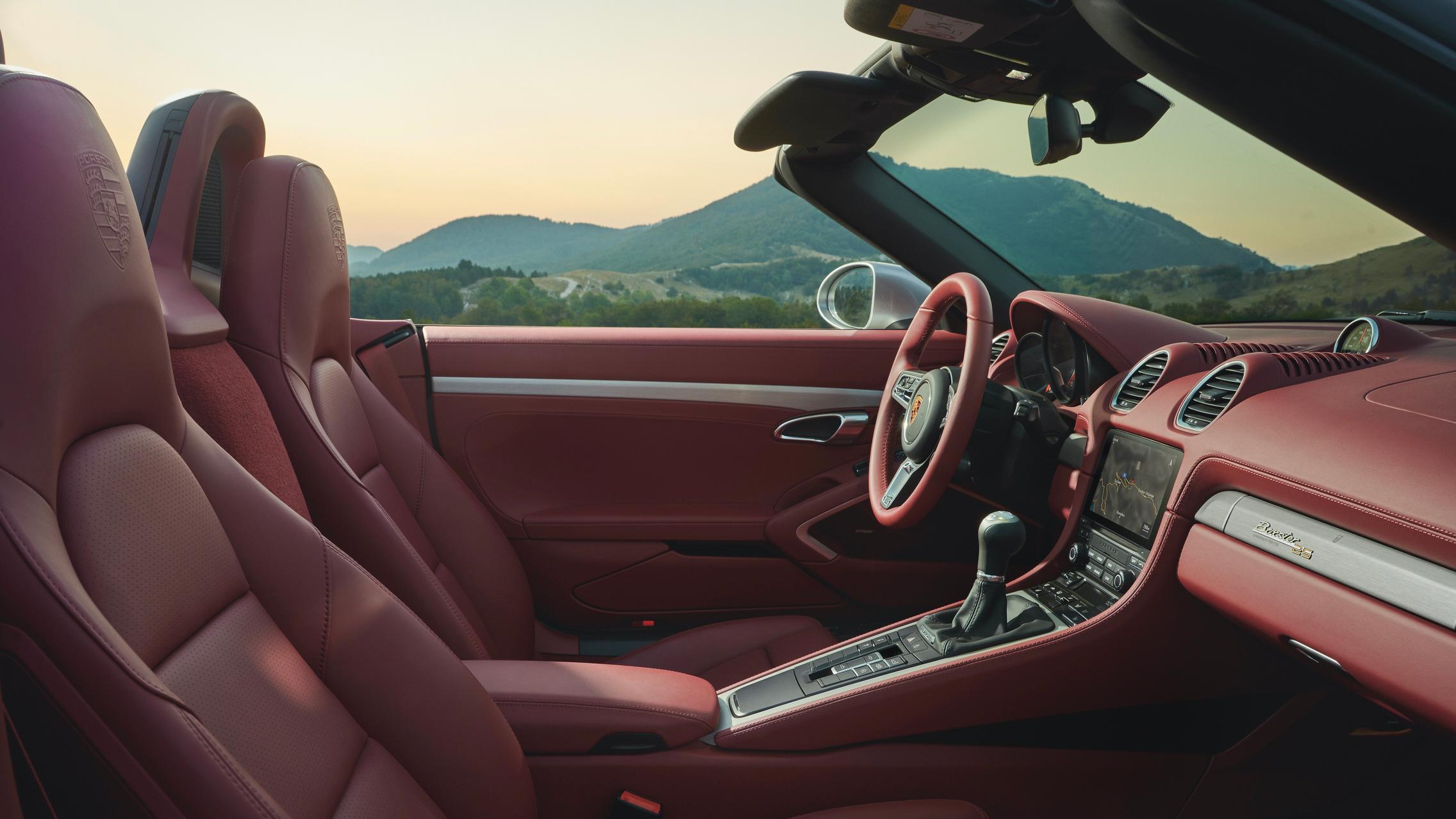 Porsche 718 Boxster red interior