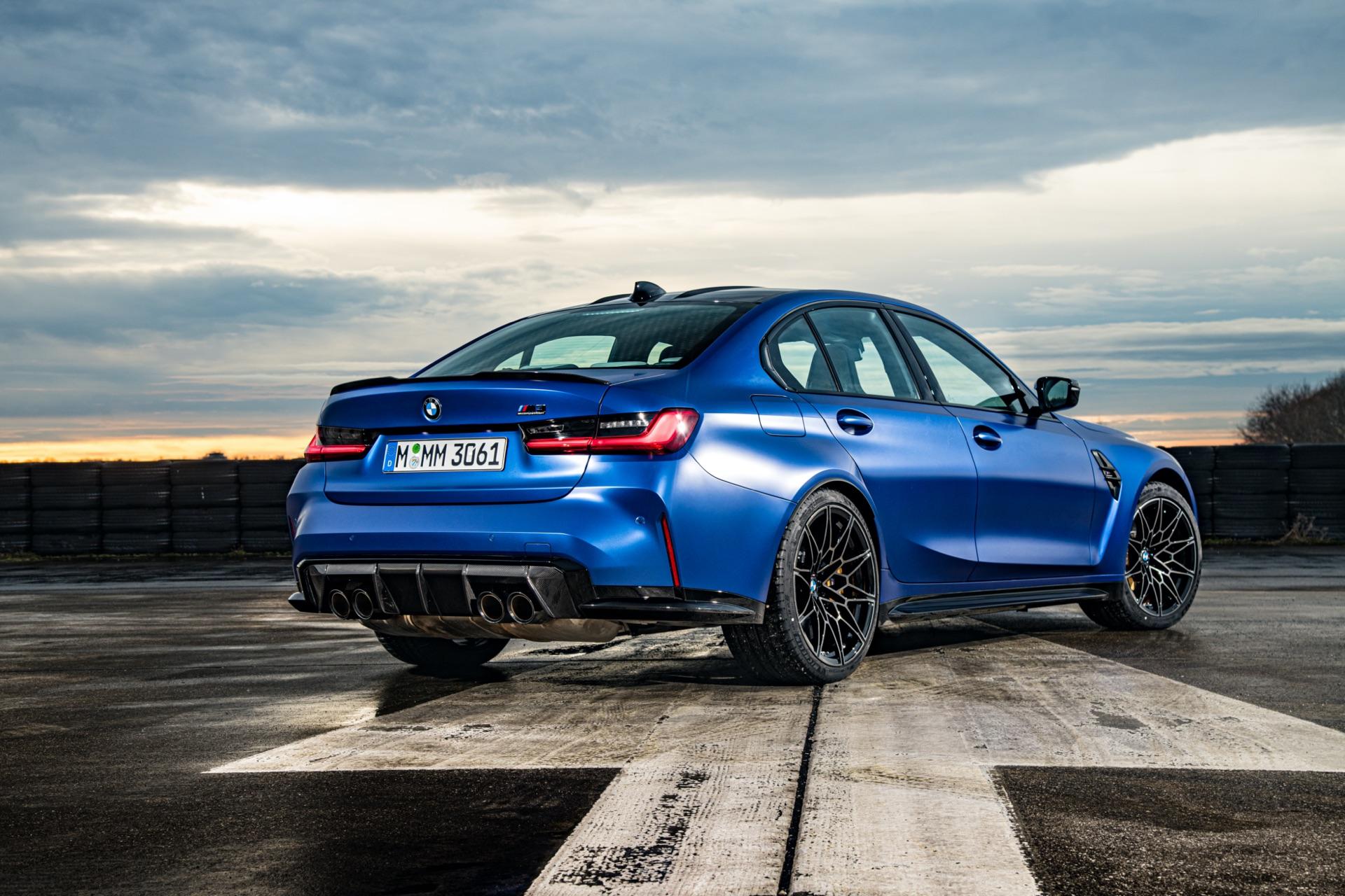 Portimao Blue BMW G80 M3 rear quarter