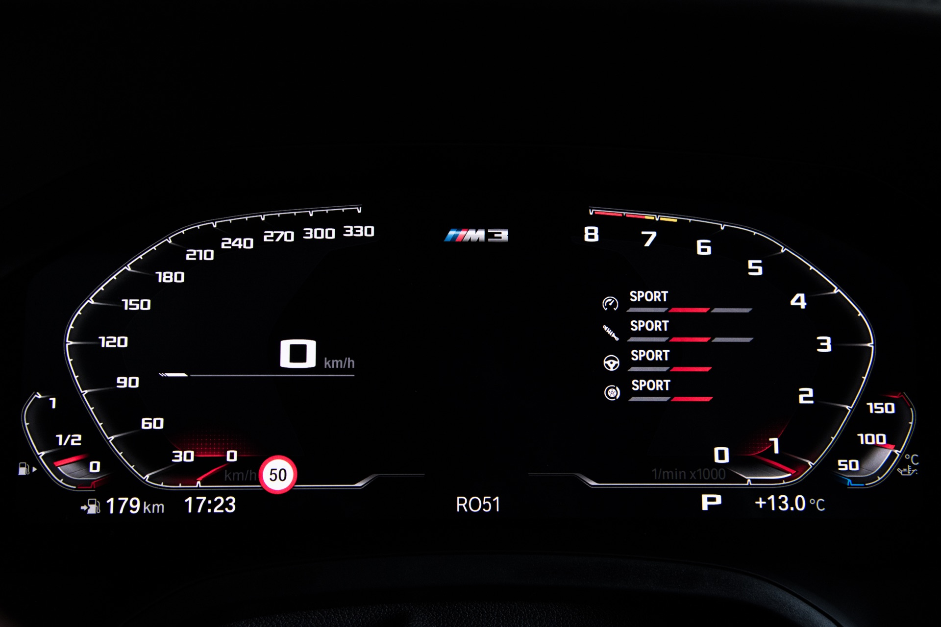 2022 BMW M3 speedo