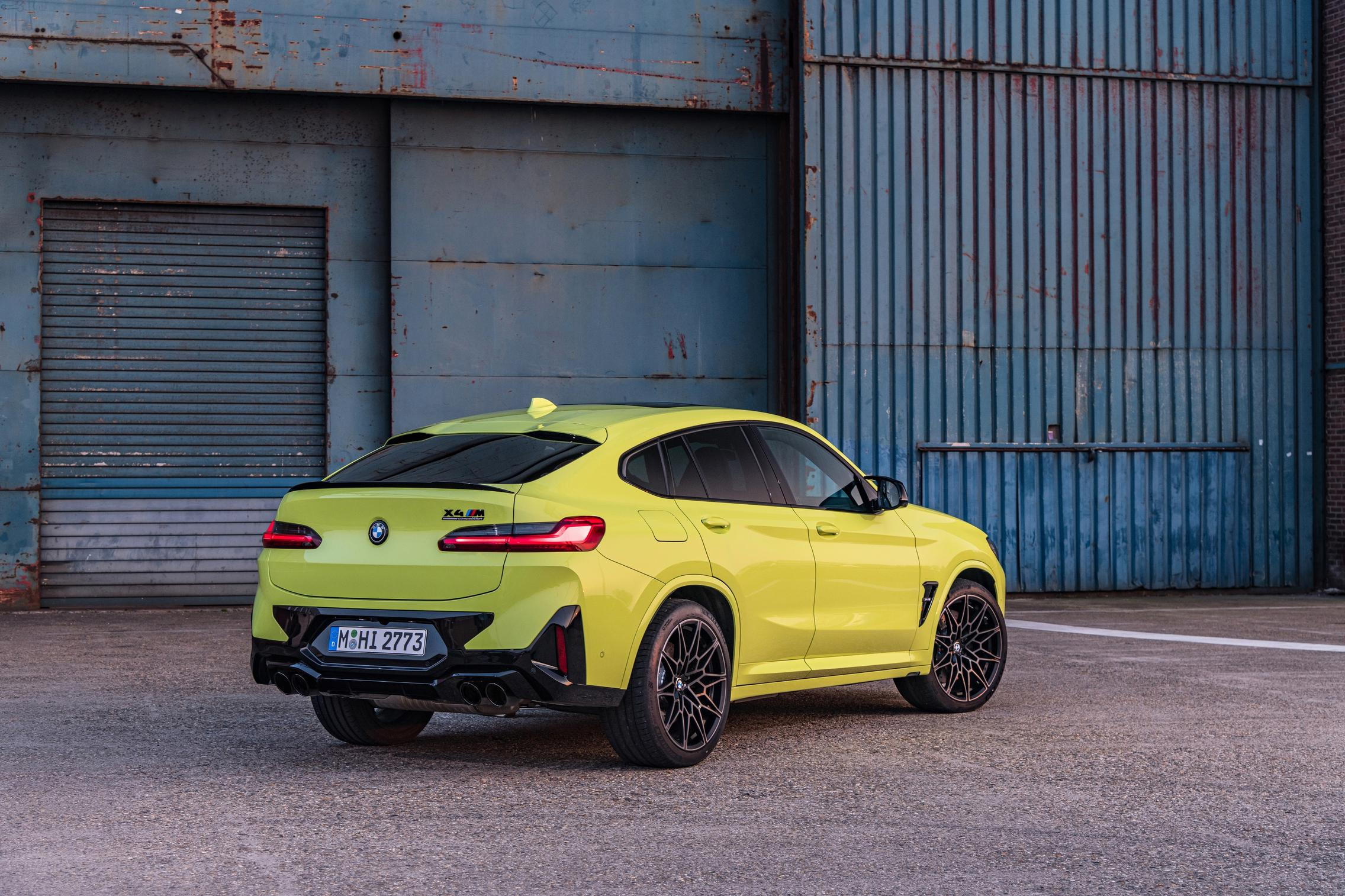 Yellow BMW X4 M Competition rear