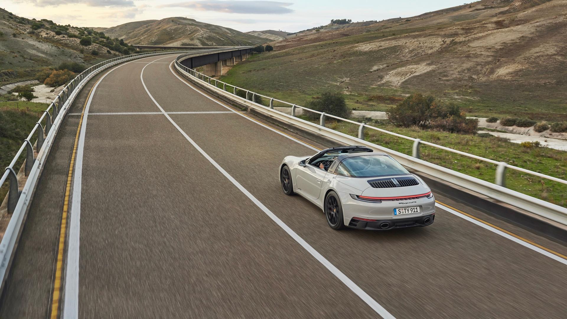 Porsche 911 GTS Convertible driving