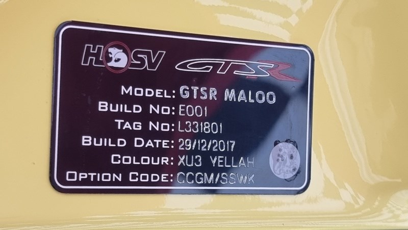 Holden HSV GTSR W1 vin plate