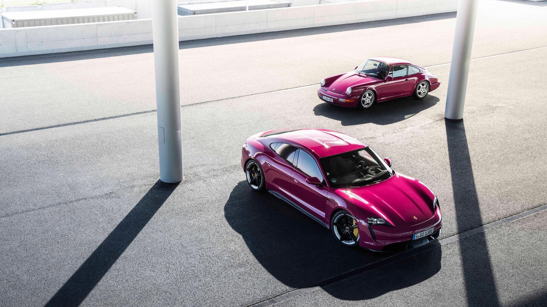 Ruby red Porsche Taycan