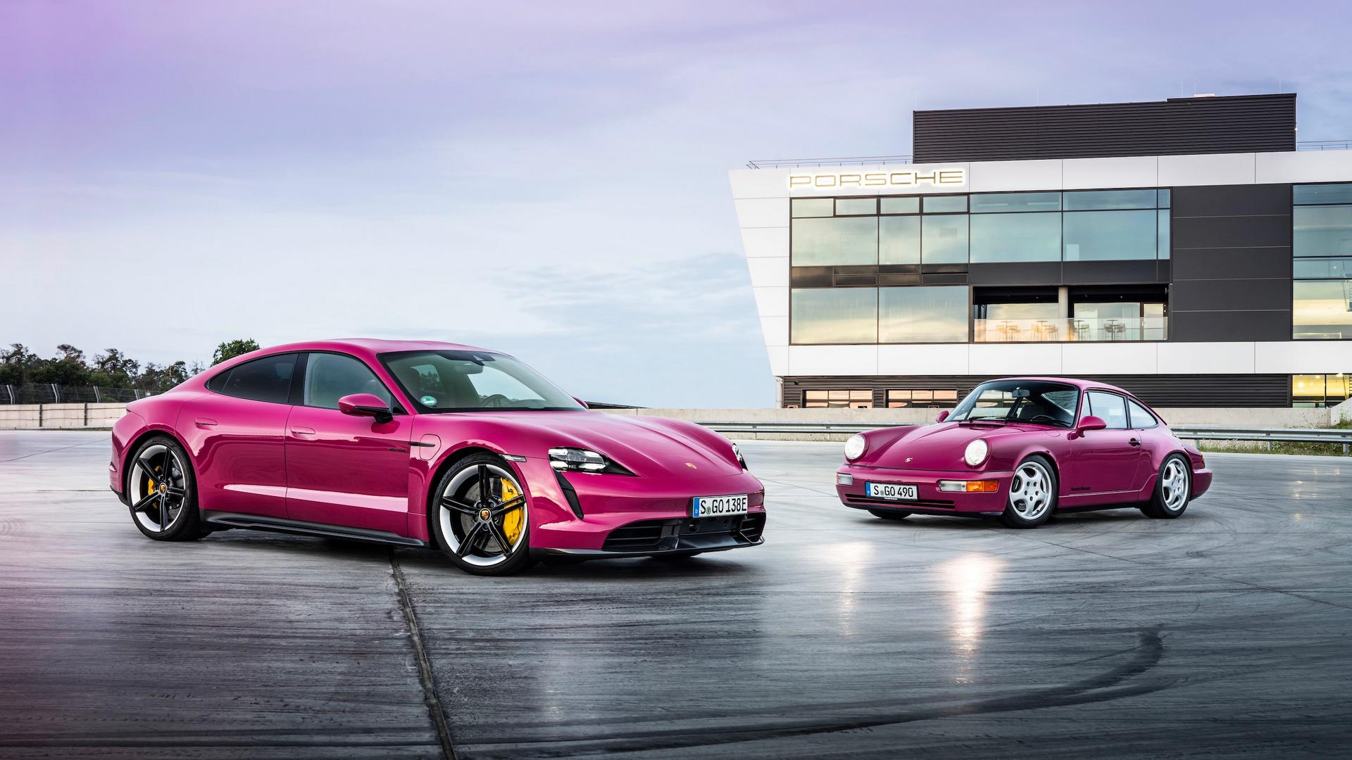 Back to the 90s: Porsche Taycan Now Available in Rubystone Red and Acid Green